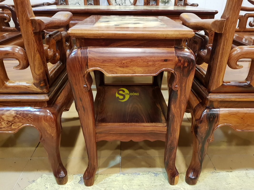 Bộ bàn ghế móc đá gỗ cẩm lai xịn 8 món – BBG412 (Ảnh 7)