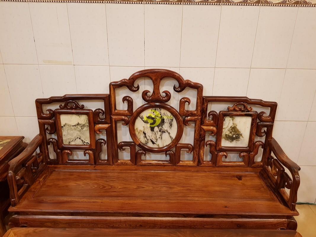 Bộ bàn ghế móc đá gỗ cẩm lai xịn 8 món – BBG412 (Ảnh 4)