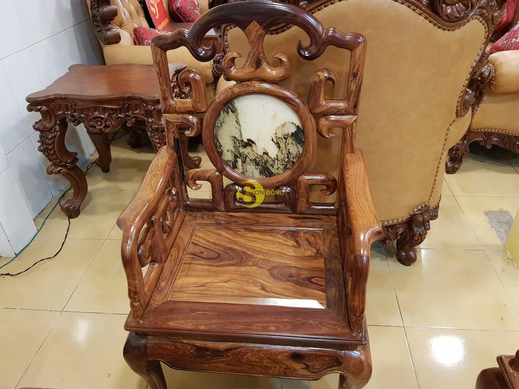 Bộ bàn ghế móc đá gỗ cẩm lai xịn 8 món – BBG412 (Ảnh 6)