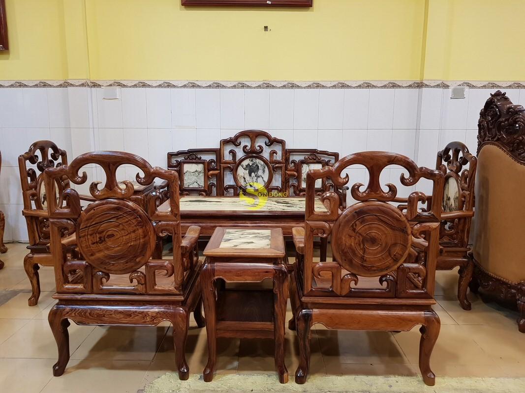 Bộ bàn ghế móc đá gỗ cẩm lai xịn 8 món – BBG412 (Ảnh 8)