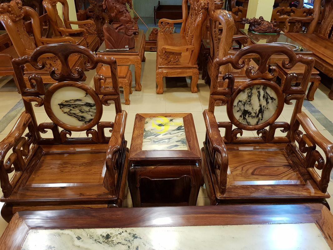Bộ bàn ghế móc đá gỗ cẩm lai xịn 8 món – BBG412 (Ảnh 1)