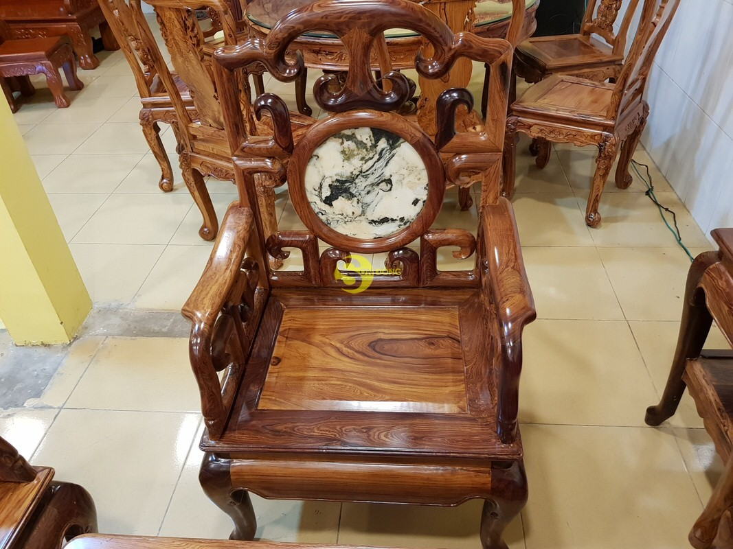 Bộ bàn ghế móc đá gỗ cẩm lai xịn 8 món – BBG412 (Ảnh 2)