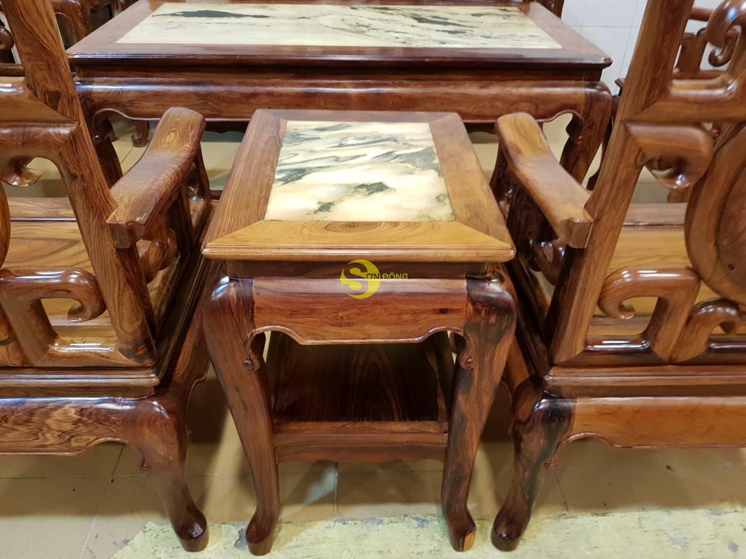 Bộ bàn ghế móc đá gỗ cẩm lai xịn 8 món – BBG412 (Ảnh 3)