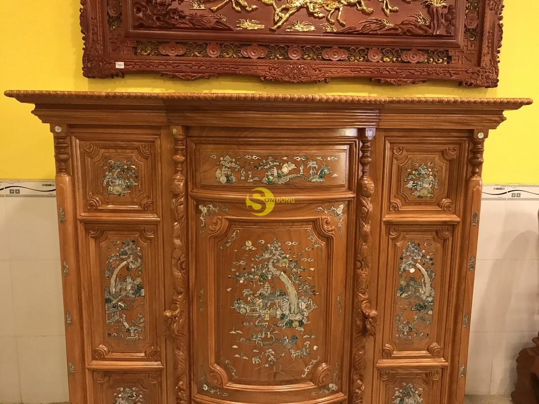 Tủ thờ gõ đỏ khảm 1,53m-SD89 (Ảnh 7)