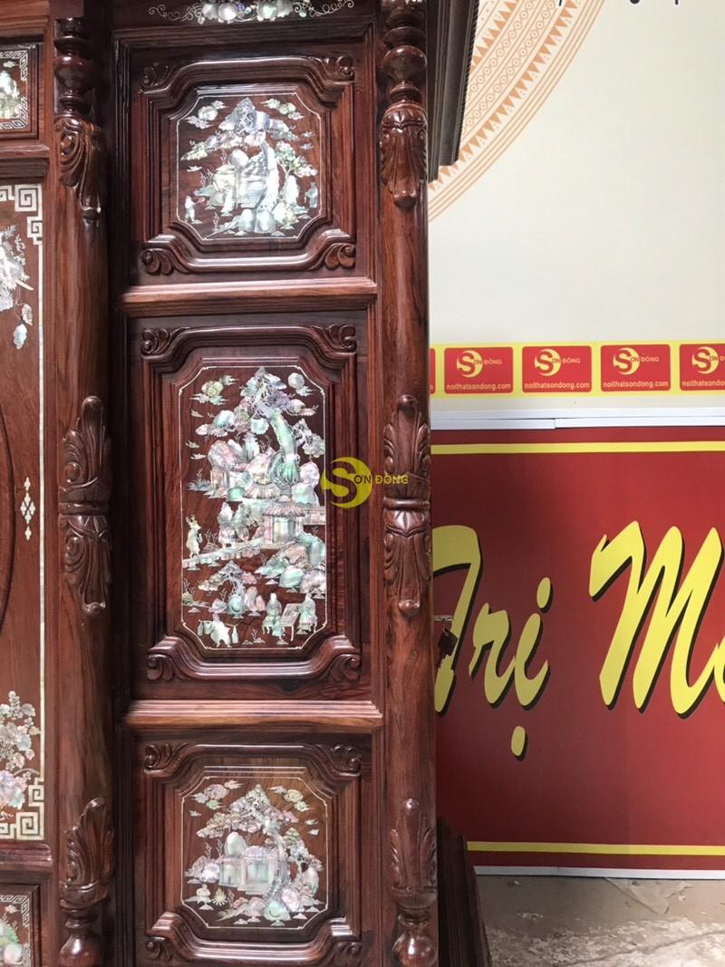 Tủ thờ cẩm lai 13 ô trám cẩn ốc 1,47m – SD520 (Ảnh 2)