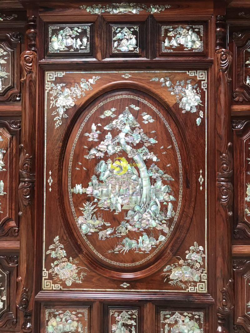 Tủ thờ cẩm lai 13 ô trám cẩn ốc 1,47m – SD520 (Ảnh 6)