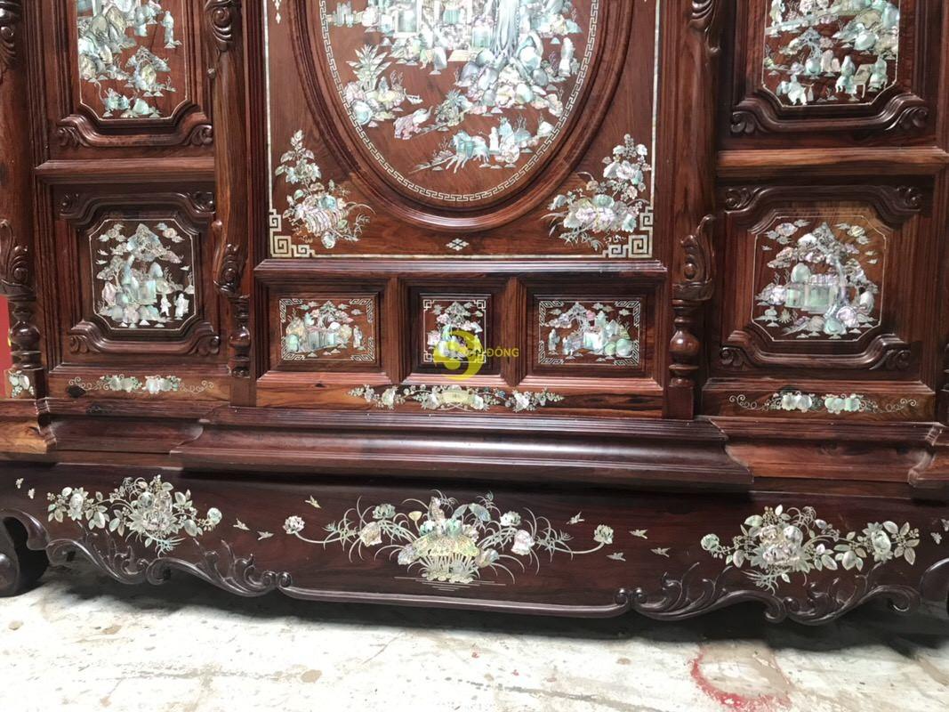 Tủ thờ cẩm lai 13 ô trám cẩn ốc 1,47m – SD520 (Ảnh 5)
