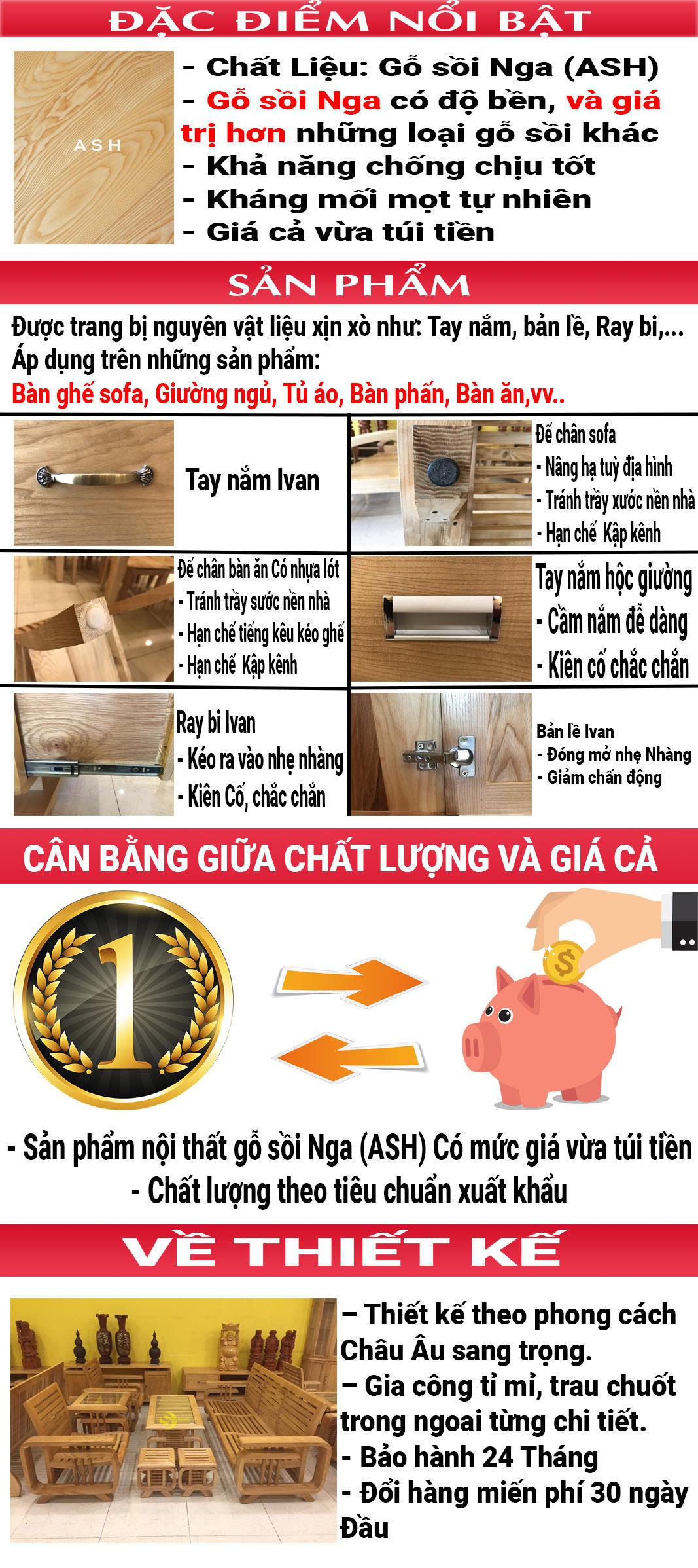 Giường ngủ gỗ sồi 1m8 – LCMGN06 (Ảnh 1)