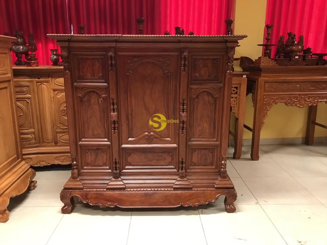 Tủ thờ cẩm lai nan phi vuông 1.53m – SD348 (Ảnh 4)