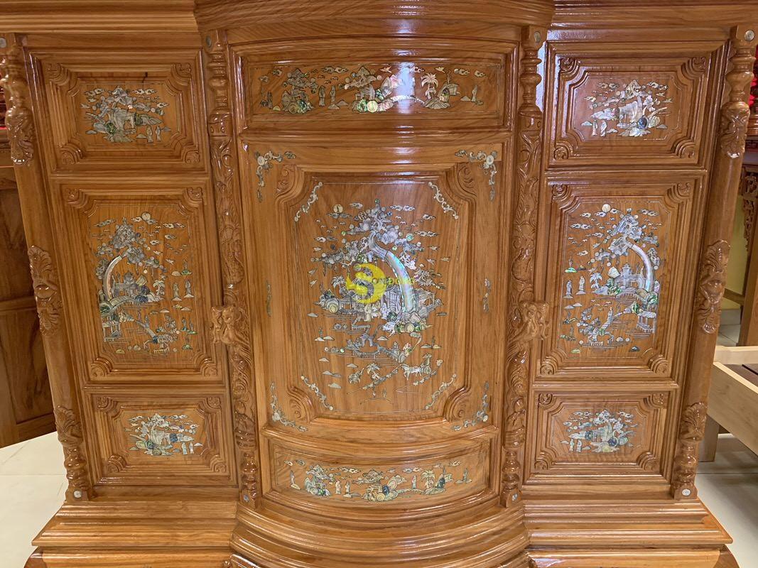 Tủ thờ gõ đỏ bụng phệ khảm ốc 1m76 – SD890 (Ảnh 6)