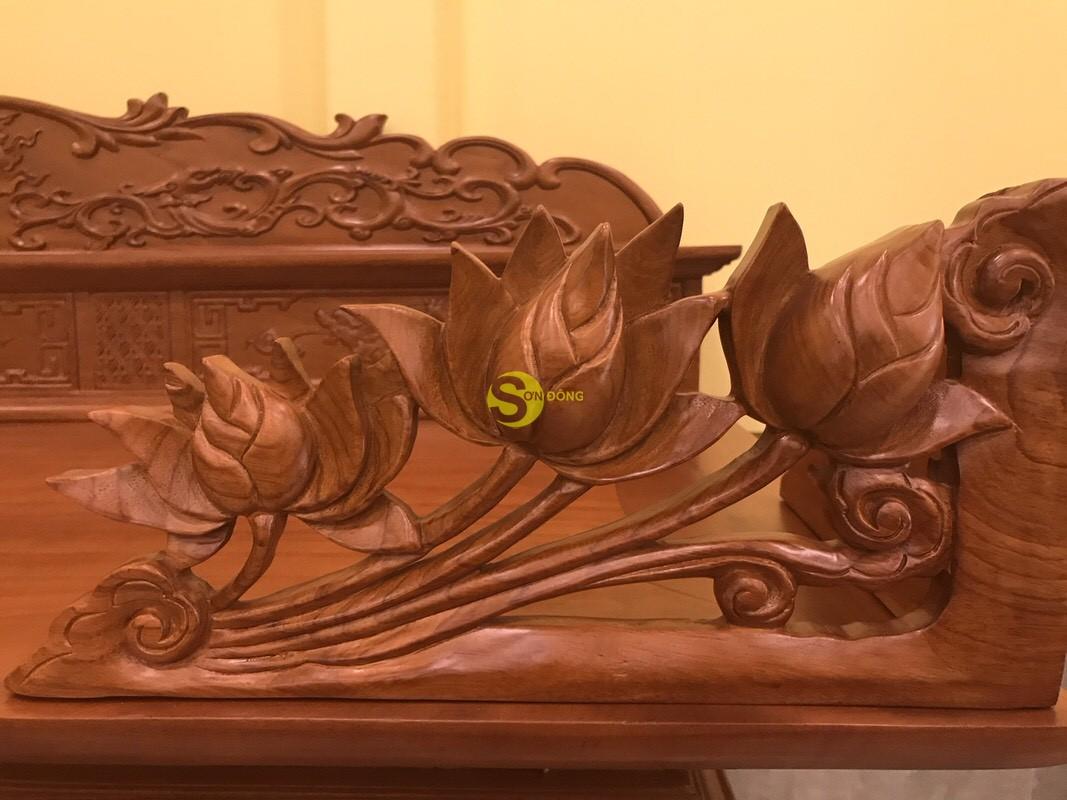 Sập thờ hoa sen nhị cấp gõ đỏ chân 24 SD124 (Ảnh 1)