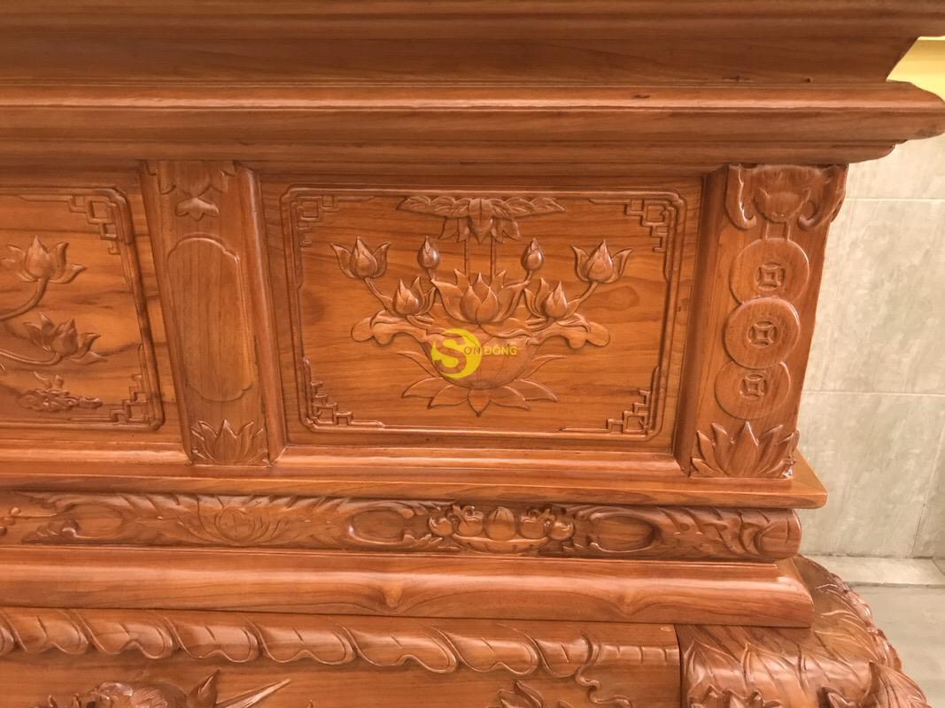Sập thờ hoa sen nhị cấp gõ đỏ chân 24 SD124 (Ảnh 7)