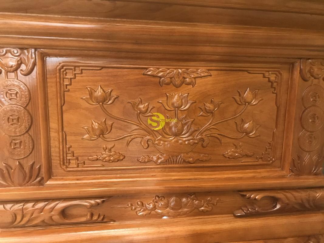 Sập thờ hoa sen nhị cấp gõ đỏ chân 24 SD124 (Ảnh 9)