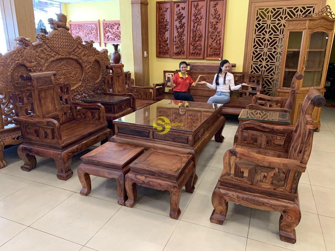 Bộ bàn ghế sơn thủy gỗ cẩm lai 10 món chân 14 – BBG1442 (Ảnh 9)