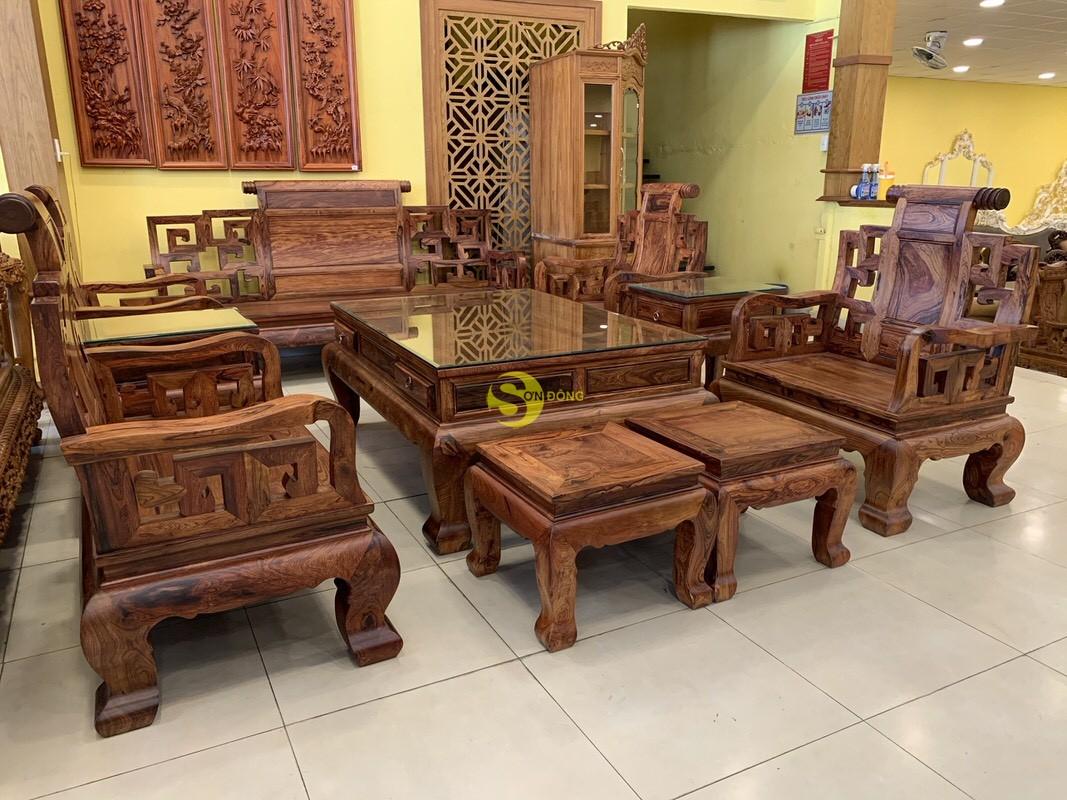 Bộ bàn ghế sơn thủy gỗ cẩm lai 10 món chân 14 – BBG1442 (Ảnh 3)