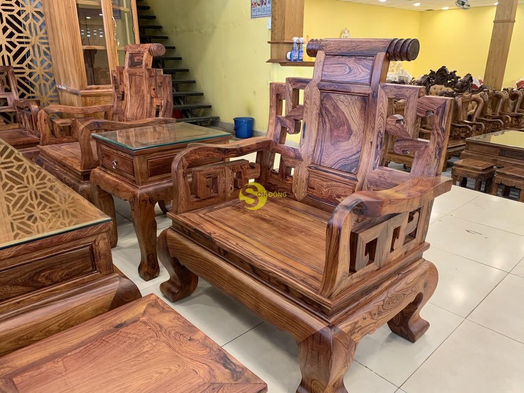 Bộ bàn ghế sơn thủy gỗ cẩm lai 10 món chân 14 – BBG1442 (Ảnh 1)
