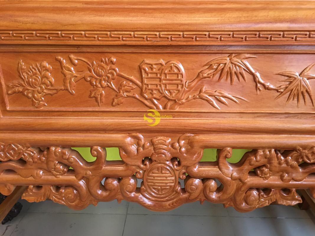 Bàn thờ ngũ phúc gỗ gõ đỏ nhị cấp 1,53m – SD95HD (Ảnh 1)