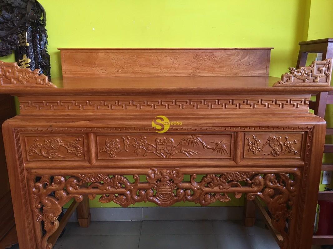 Bàn thờ ngũ phúc gỗ gõ đỏ nhị cấp 1,53m – SD95HD (Ảnh 7)