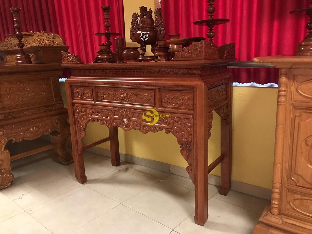 Bàn thờ ngũ phúc gỗ hương đá 1,53m – SD295 (Ảnh 8)