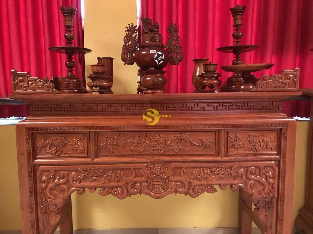 Bàn thờ ngũ phúc gỗ hương đá 1,53m – SD295 (Ảnh 5)