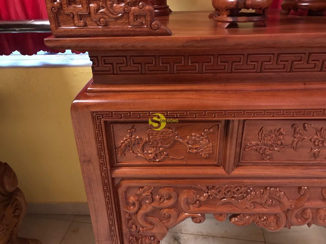 Bàn thờ ngũ phúc gỗ hương đá 1,53m – SD295 (Ảnh 4)