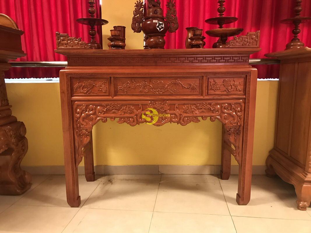 Bàn thờ ngũ phúc gỗ hương đá 1,53m – SD295 (Ảnh 2)