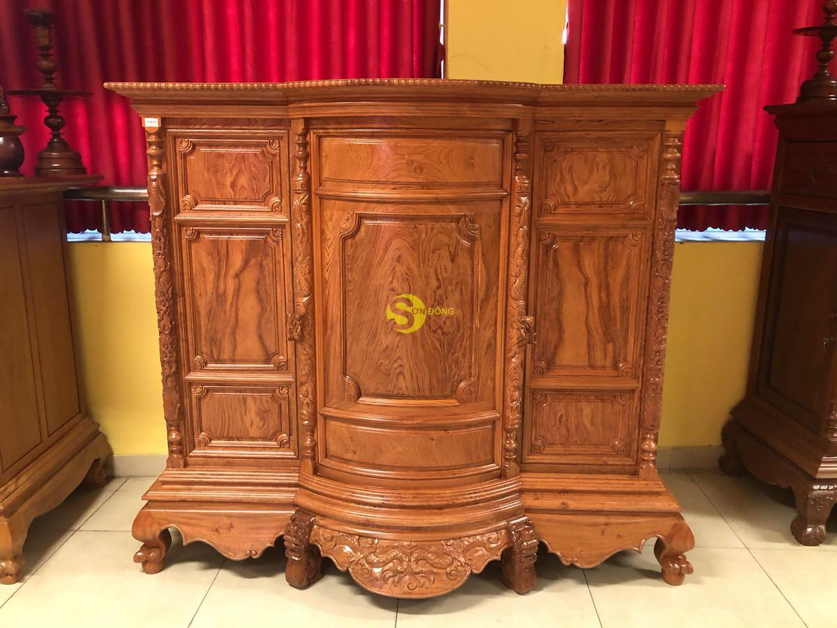 Tủ thờ hương đá trơn bụng phệ 1.76m SD35 (Ảnh 8)