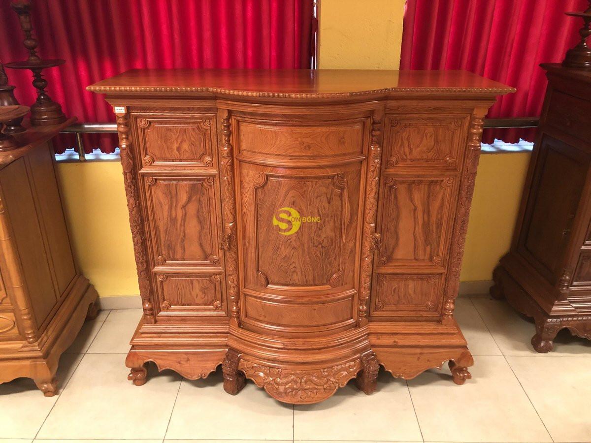 Tủ thờ hương đá trơn bụng phệ 1.76m SD35 (Ảnh 7)