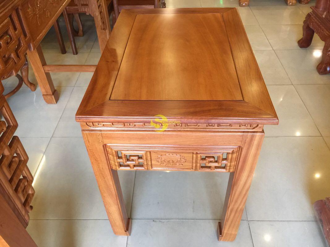 Bộ cặp bàn thờ và bàn cúng gõ đỏ triện hoa sen 1,53m SD1021 (Ảnh 8)