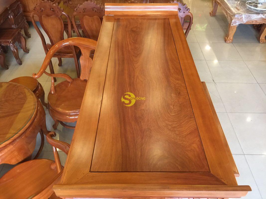 Bộ cặp bàn thờ và bàn cúng gõ đỏ triện hoa sen 1,53m SD1021 (Ảnh 7)