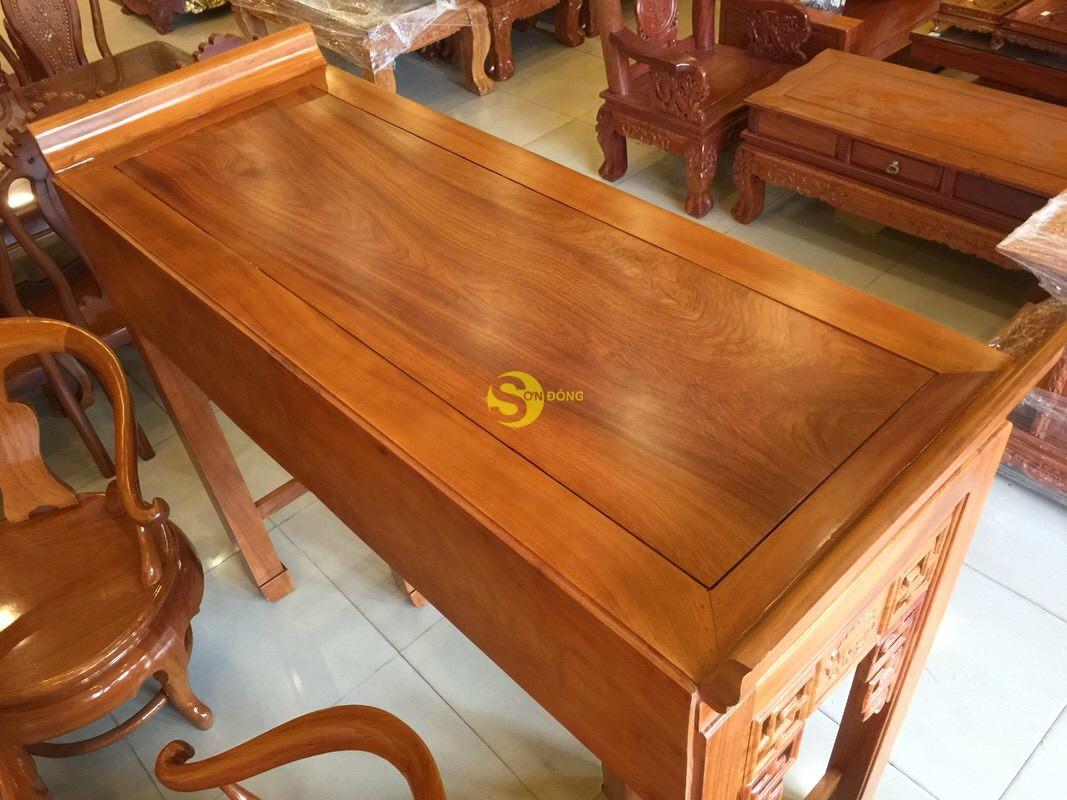 Bộ cặp bàn thờ và bàn cúng gõ đỏ triện hoa sen 1,53m SD1021 (Ảnh 5)