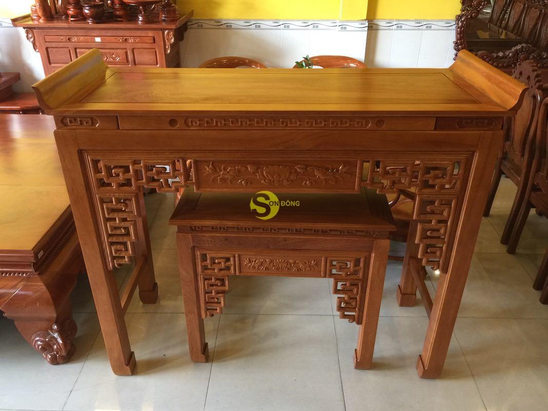Bộ cặp bàn thờ và bàn cúng gõ đỏ triện hoa sen 1,53m SD1021 (Ảnh 4)