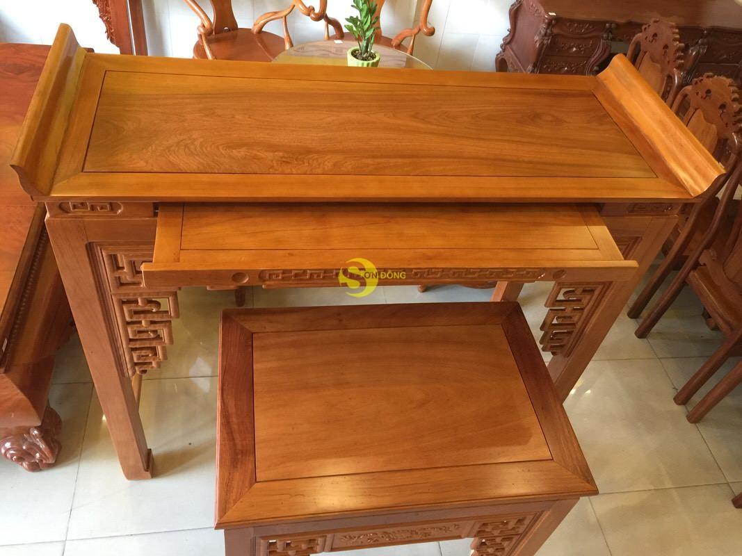 Bộ cặp bàn thờ và bàn cúng gõ đỏ triện hoa sen 1,53m SD1021 (Ảnh 3)