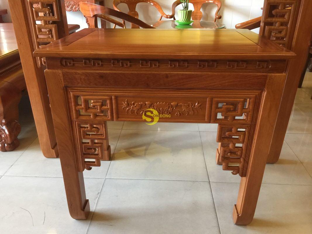 Bộ cặp bàn thờ và bàn cúng gõ đỏ triện hoa sen 1,53m SD1021 (Ảnh 1)