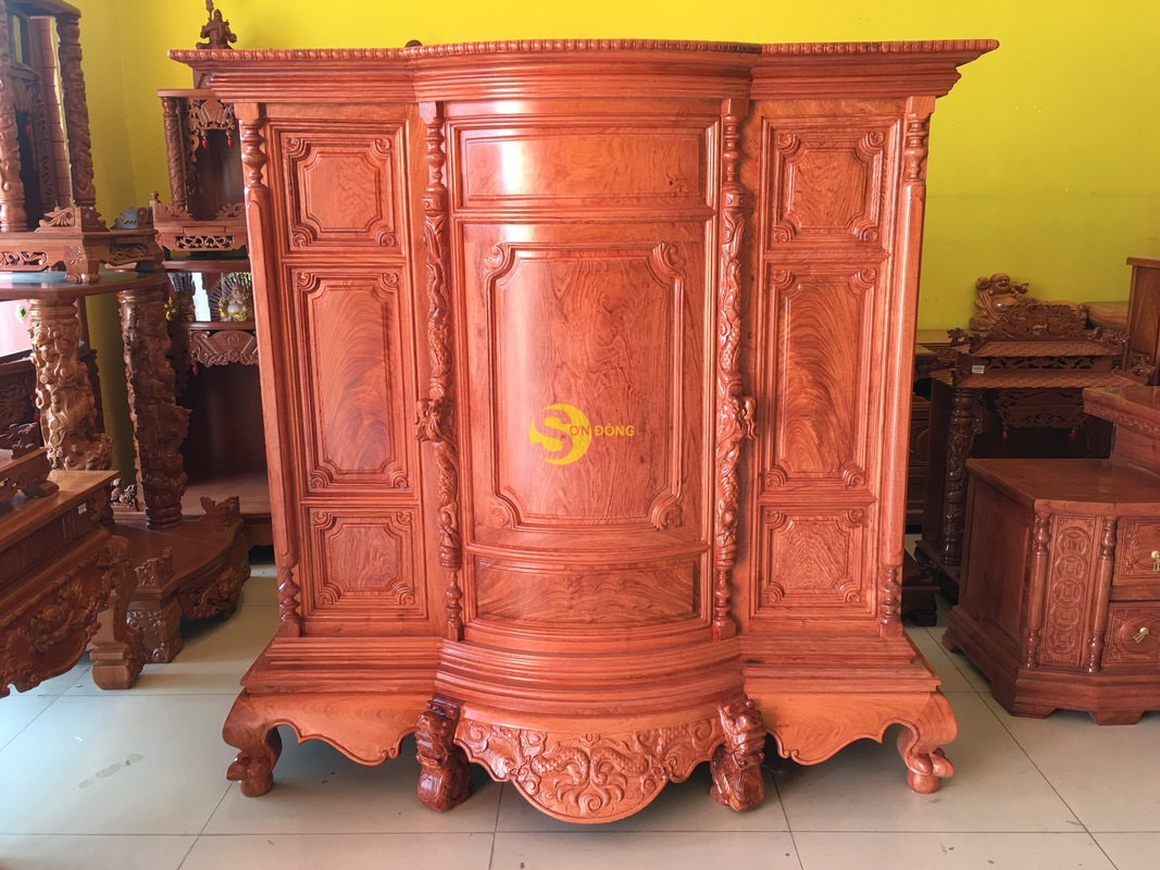 Tủ thờ hương đá trơn bụng phệ 1.53m SD324 (Ảnh 7)