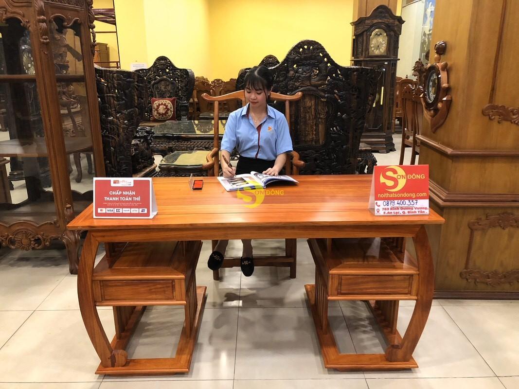 Bộ bàn ghế làm việc khổng minh gỗ hương huyết BLV06 (Ảnh 1)