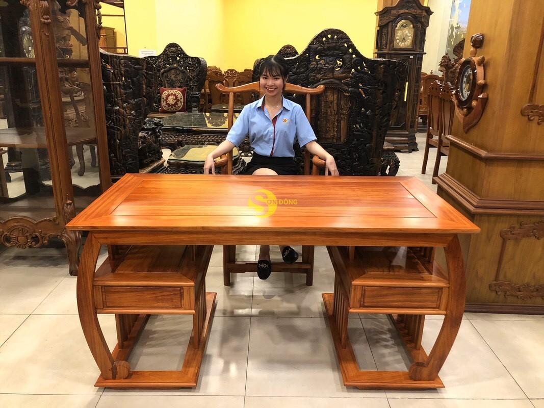 Bộ bàn ghế làm việc khổng minh gỗ hương huyết BLV06 (Ảnh 2)