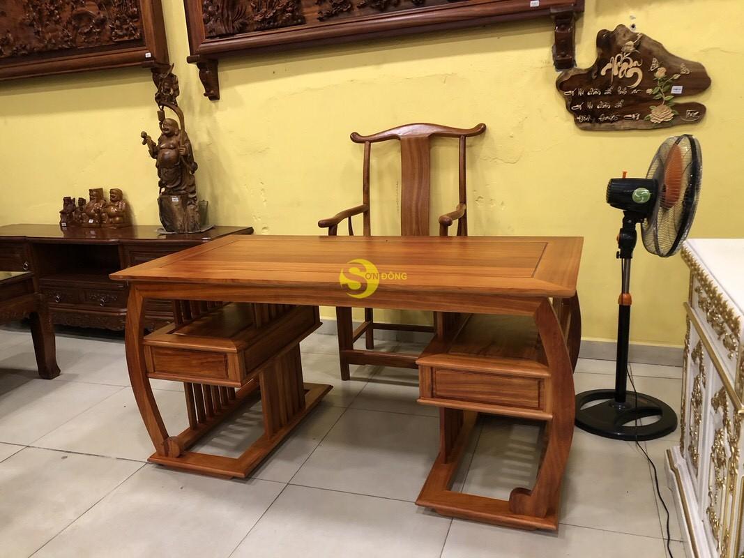 Bộ bàn ghế làm việc khổng minh gỗ hương huyết BLV06 (Ảnh 3)