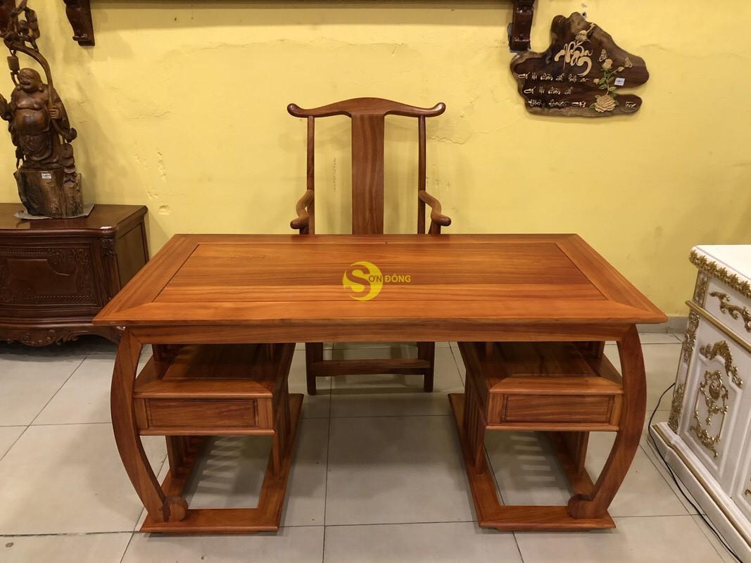 Bộ bàn ghế làm việc khổng minh gỗ hương huyết BLV06 (Ảnh 4)