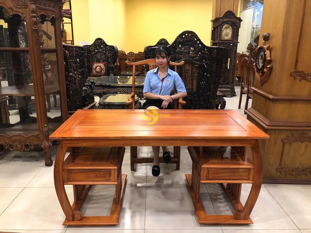 Bộ bàn ghế làm việc khổng minh gỗ hương huyết BLV06 (Ảnh 5)