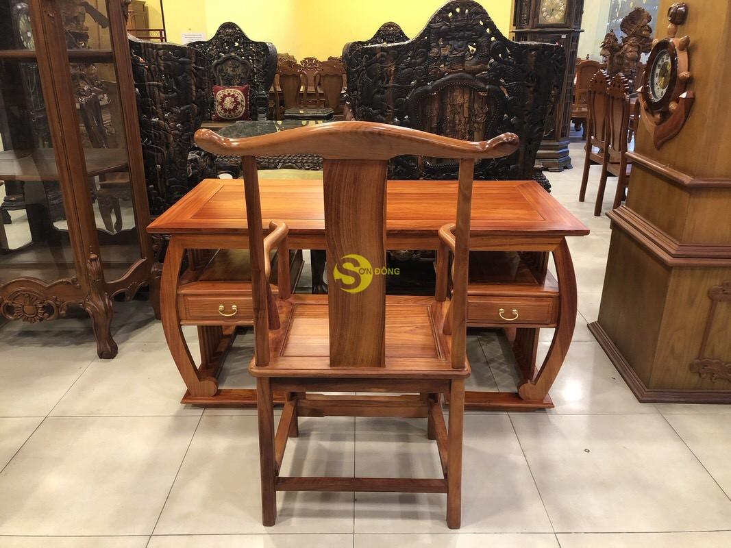 Bộ bàn ghế làm việc khổng minh gỗ hương huyết BLV06 (Ảnh 6)
