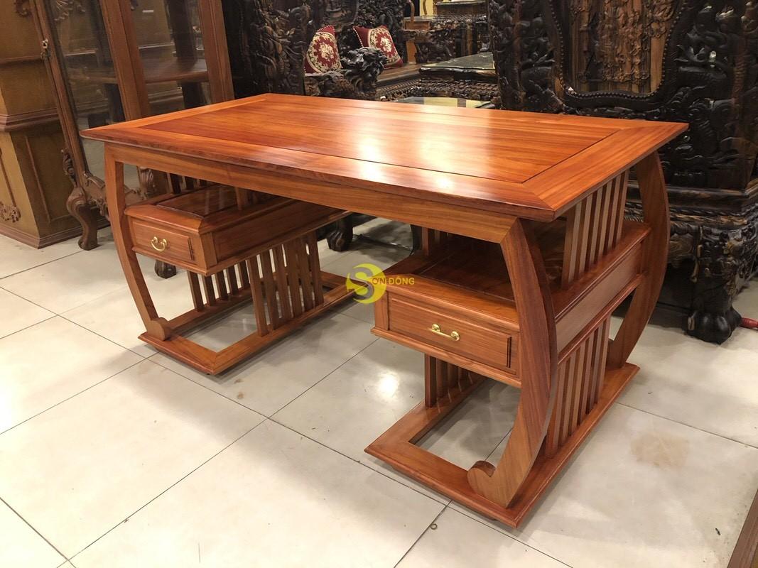 Bộ bàn ghế làm việc khổng minh gỗ hương huyết BLV06 (Ảnh 7)