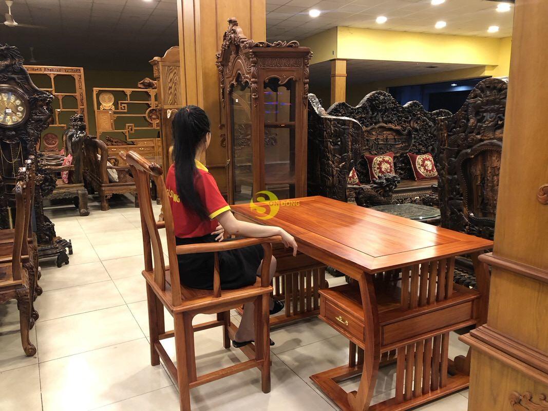 Bộ bàn ghế làm việc khổng minh gỗ hương huyết BLV06 (Ảnh 8)