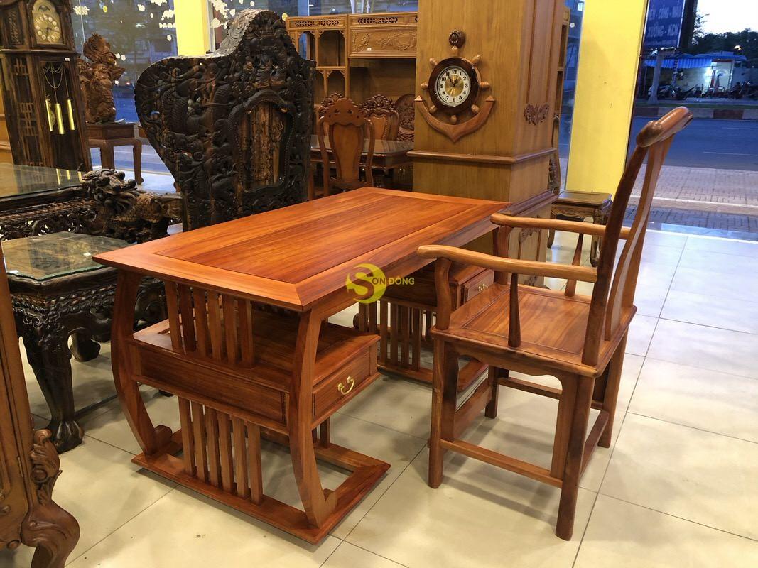 Bộ bàn ghế làm việc khổng minh gỗ hương huyết BLV06 (Ảnh 9)