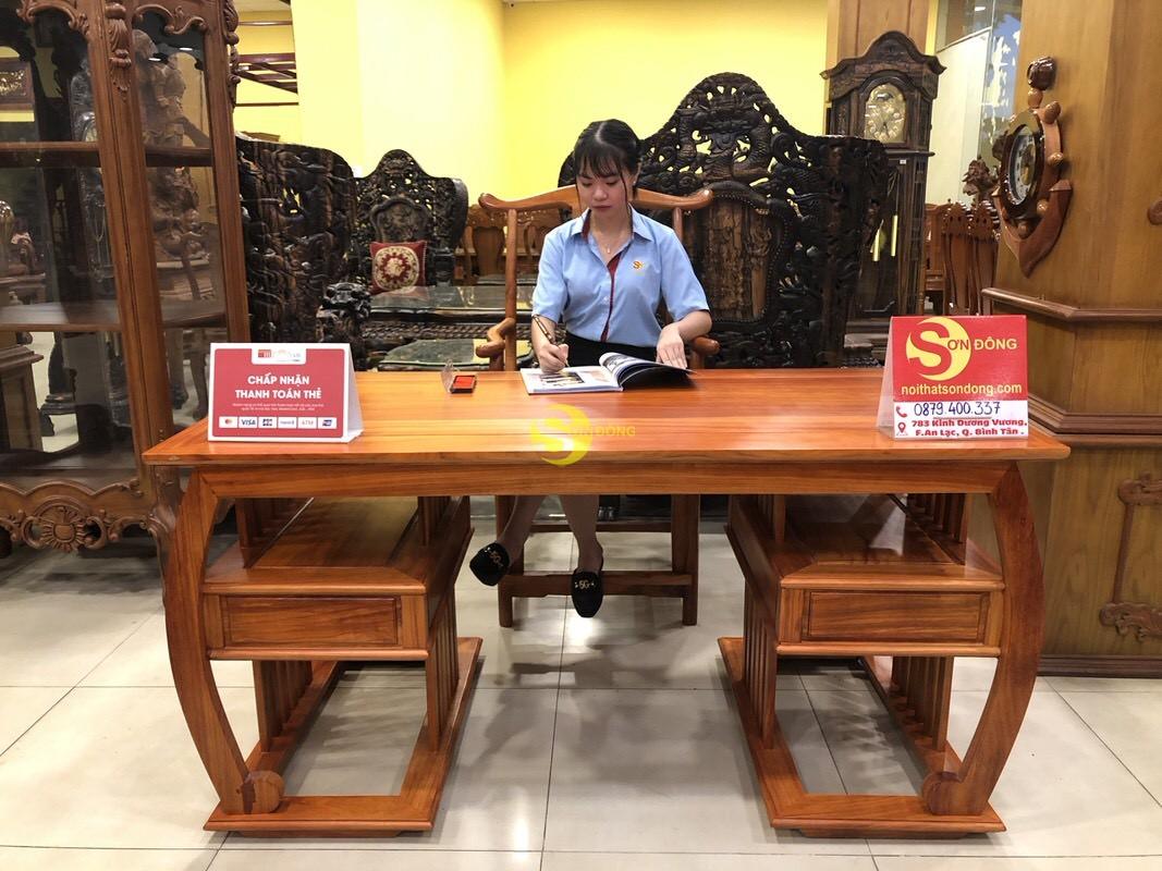 Bộ bàn ghế làm việc khổng minh gỗ hương huyết BLV06 (Ảnh 10)