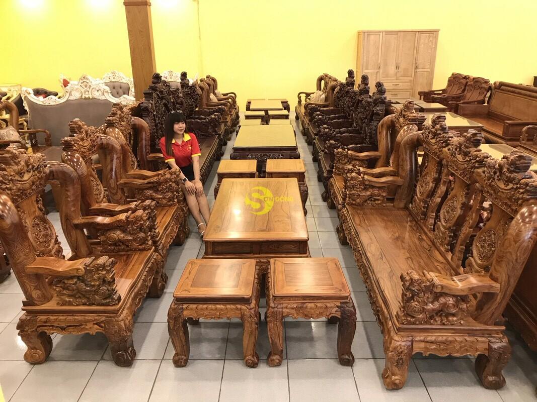 Bộ bàn ghế nghê đỉnh gỗ cẩm lai xịn 10 món tay 14 BBG442 (Ảnh 6)