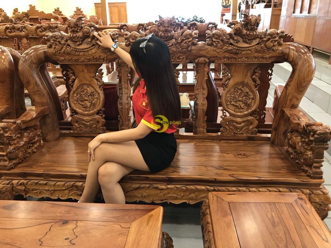 Bộ bàn ghế nghê đỉnh gỗ cẩm lai xịn 10 món tay 14 BBG442 (Ảnh 8)