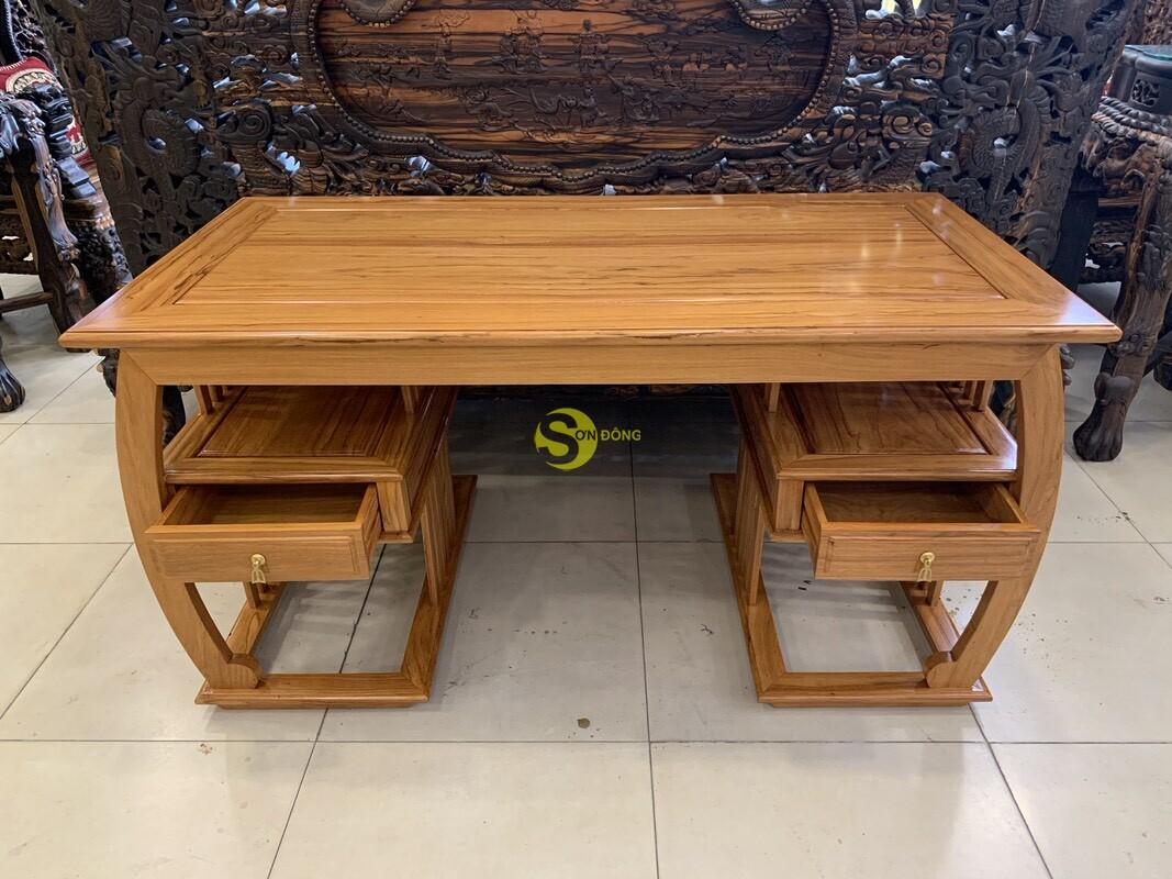 Bộ bàn ghế làm việc khổng minh gỗ gõ đỏ 1.53m BLV09 (Ảnh 8)