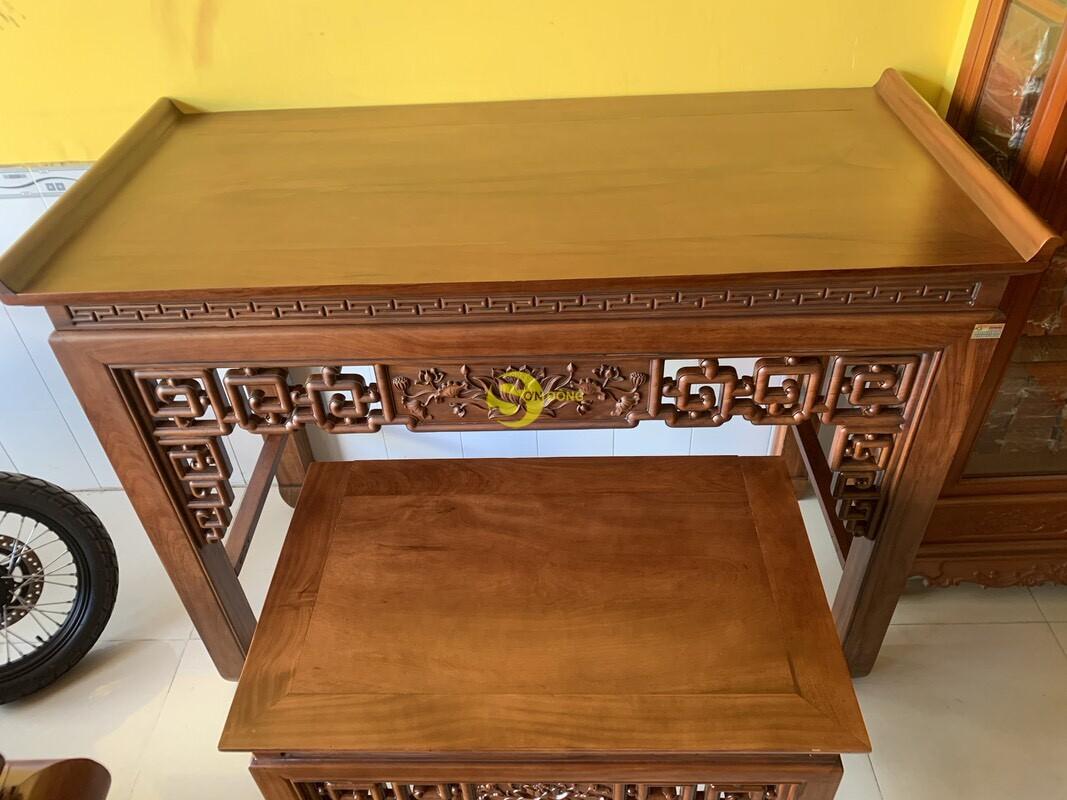 Bộ bàn thờ và bàn cúng gõ đỏ triện hoa sen 1,76m SD104 (Ảnh 8)