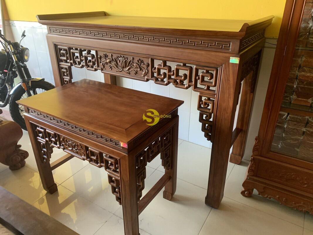 Bộ bàn thờ và bàn cúng gõ đỏ triện hoa sen 1,76m SD104 (Ảnh 2)